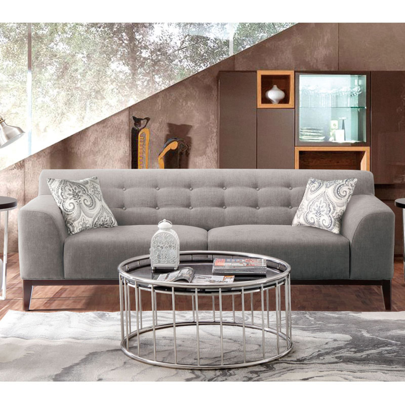 Diamond Sofa Marquee Tufted Back Sofa With Accent Pillows   Moonstone