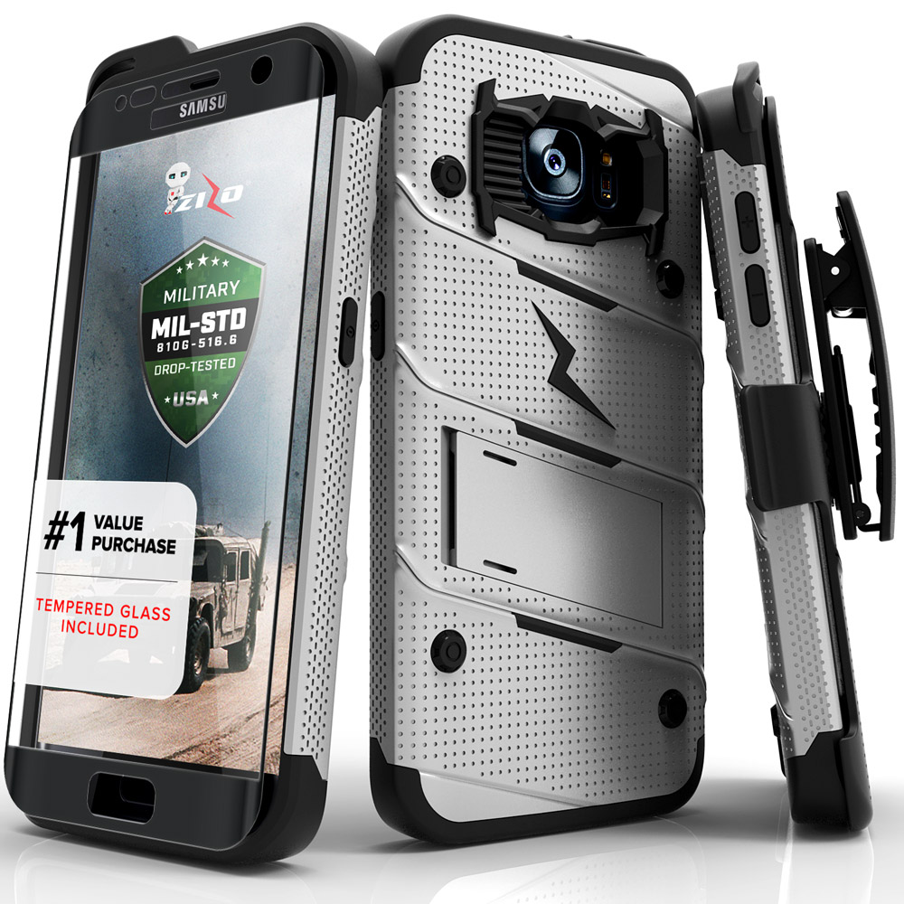 Samsung Galaxy S7 Edge Case, Zizo [Bolt Series] w/ [Galaxy S7 Edge Screen Protector] Kickstand [Military Grade DropTested] Holster Clip S7 Edge G935