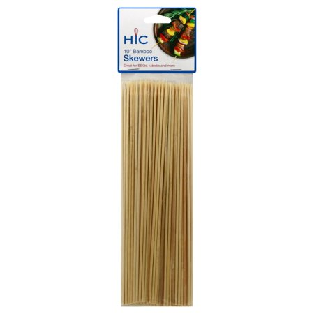 HIC Bamboo BBQ, Kabob and Grill Skewers, 10-Inches Long, Set of 100
