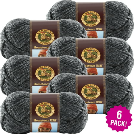 Lion Brand Hometown USA Yarn -Chicago Charcoal, Multipack of 6