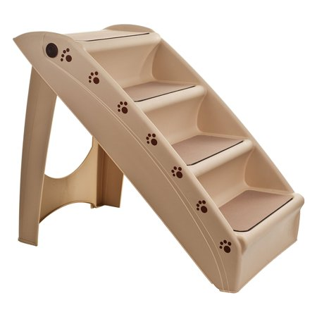 West Ivory Pets 4 Step Adjustable Stairs for dog/cats - Portable, Washable and affordable