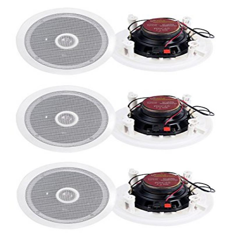 "Pyle PDIC60 6.5/"" 250W 2 Way Round In Wall//Ceiling Home Speakers System Audio"