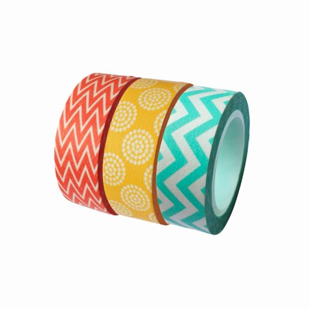 Dress My Cupcake Washi Decorative Tape for Gifts and Favors, Summer Collection, Set of 3 Tapes