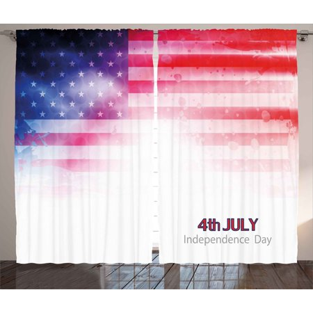 4th of July Decor Curtains 2 Panels Set, American Flag Background ...