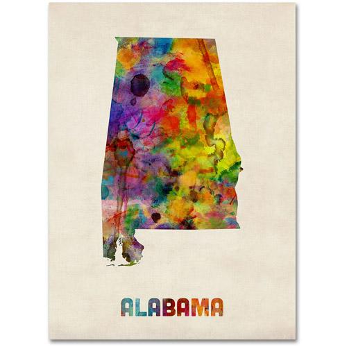 """Trademark Fine Art """"Alabama Map"""" Canvas Wall Art by Michael Tompsett"""