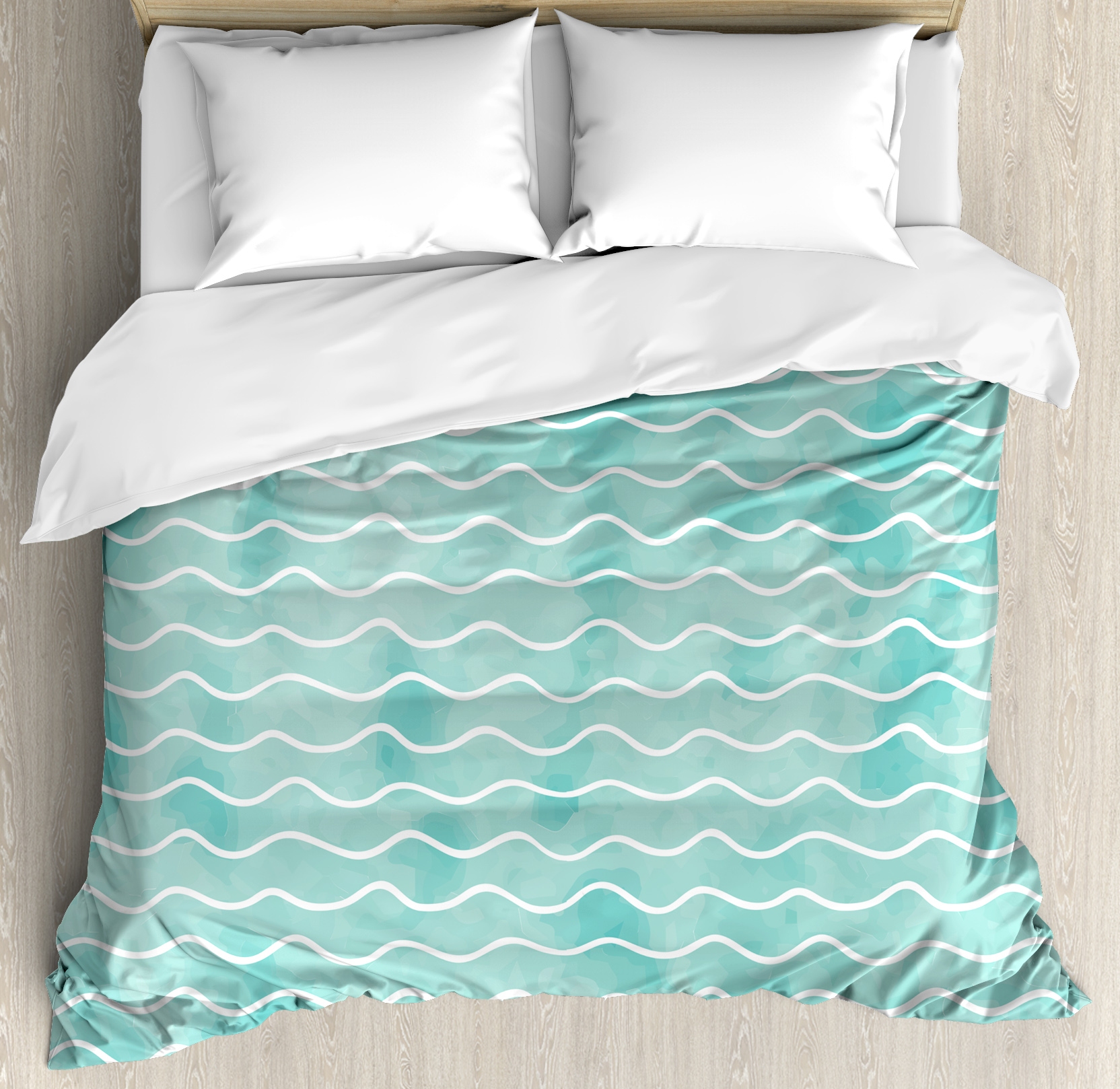 Nautical Duvet Cover Set, Soft Pastel Colored Ocean Sea Waves Pattern Summer Vibes Inspired Graphic, Decorative Bedding Set with Pillow Shams, Turquoise White, by Ambesonne