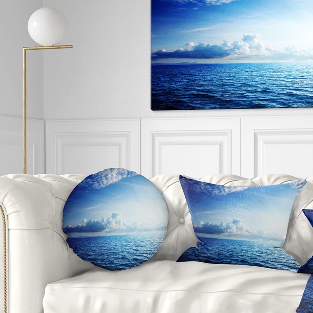 Design Art Designart Blue Caribbean Sea And Perfect Blue Sky Seascape Throw Pillow Walmart Com Walmart Com