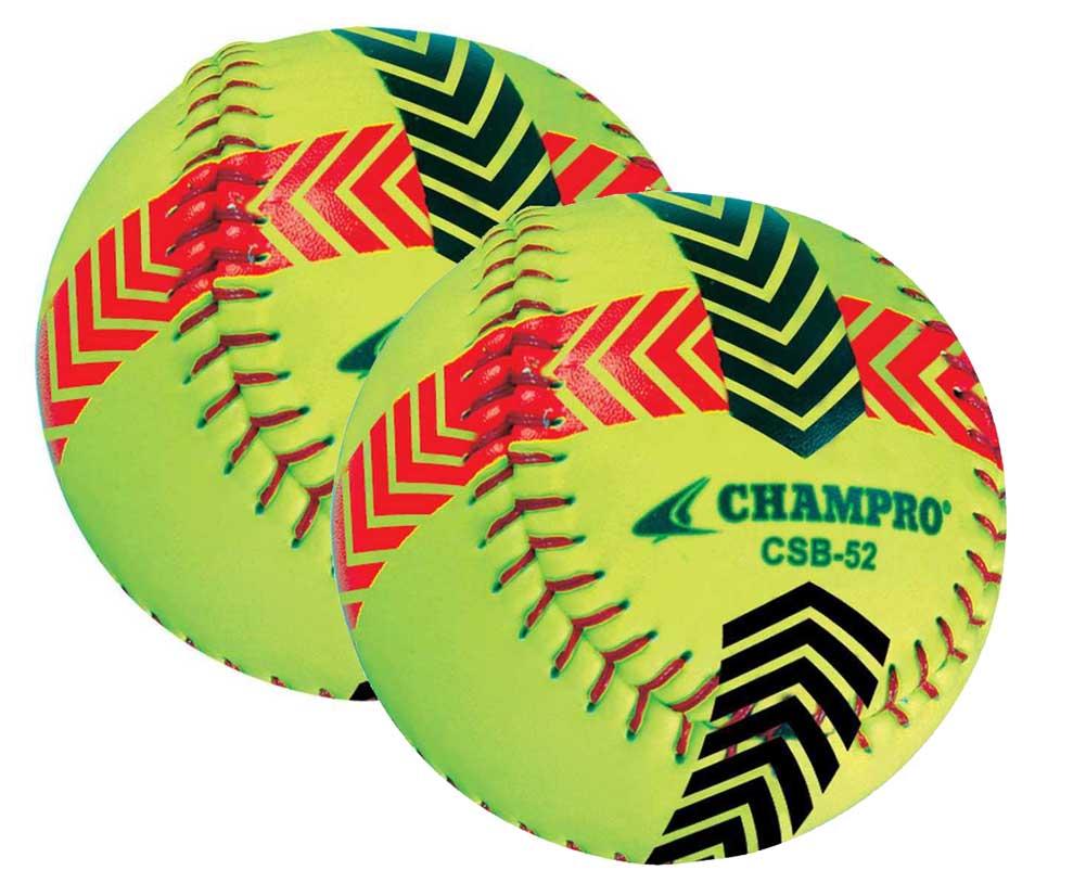 CHAMPRO SPORTS Striped Training Softball Set of 2 Balls Yellow CSB52S by Champro Sports