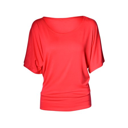 Boatneck Jersey Tunic - Women's Boatneck Dolman Sleeve Draped Tunic Top