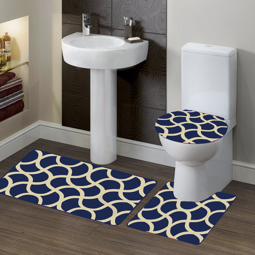 3 PC (#7) Geometric Navy Blue HIGH QUALITY Jacquard Bathroom Bath Rug