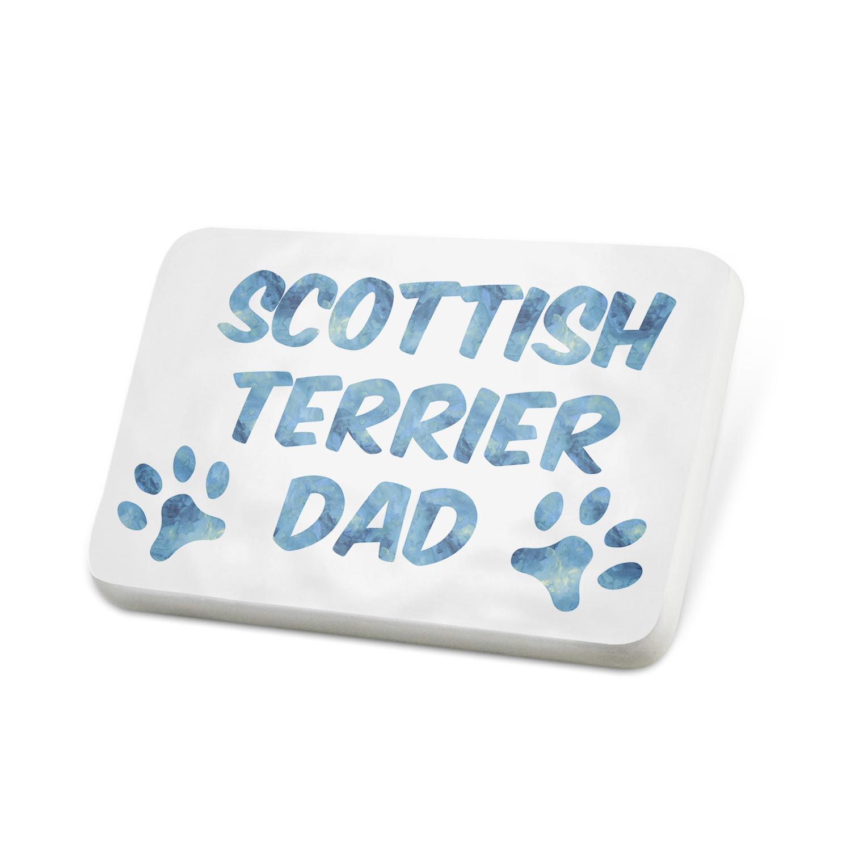 Porcelein Pin Dog & Cat Dad Scottish Terrier Lapel Badge – NEONBLOND