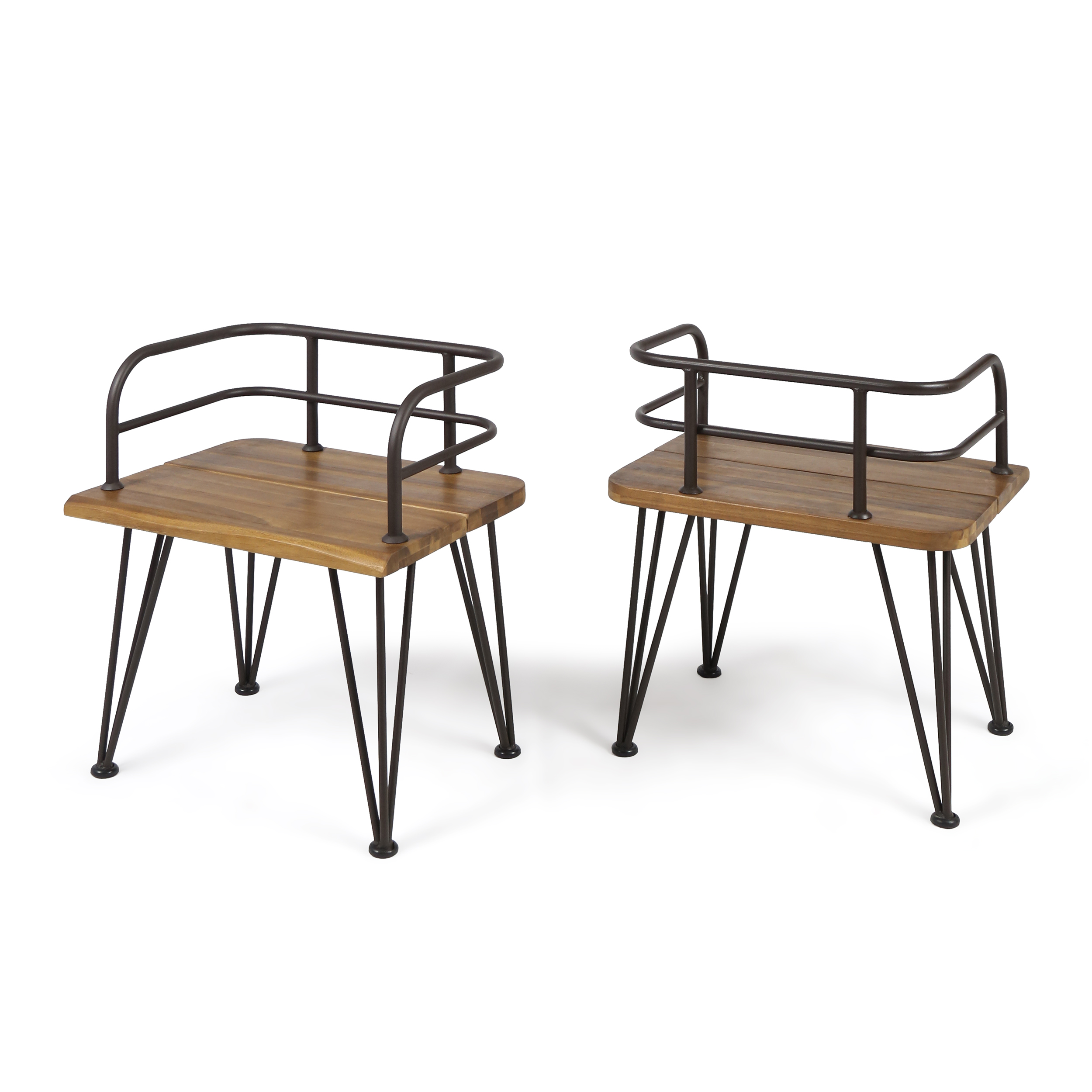 Zach Outdoor Industrial Acacia Wood Chairs with Iron Frame, Set of 2, Teak Finish and Rustic Metal Finish