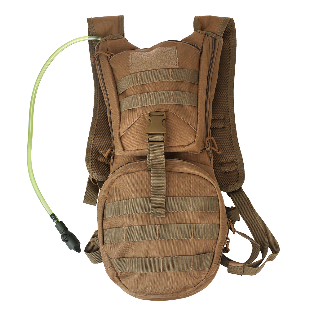 Molle Hydration Backpack Carrier with 2.5L Water Bladder Included For Outdoor Cycling Hiking Huting Climbing, Brown