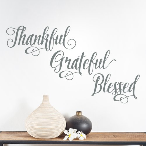Wallums Wall Decor Thankful Grateful Blessed Wall Decal