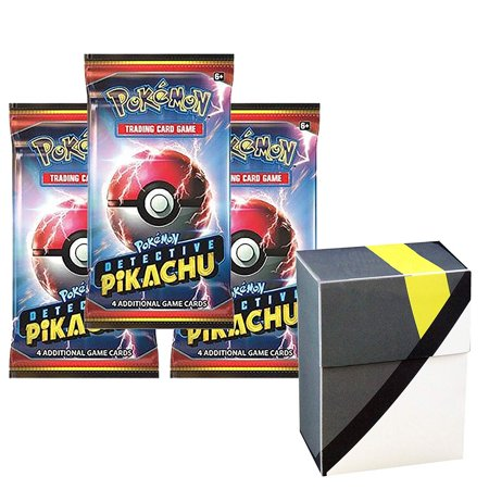 3 Pokemon Detective Pikachu Booster Pack Set With 1 Ultra Ball theme Deck Box - Total 12 Pokemon Cards - Rare Common or Uncommon TCG (1 Box 12 Balls)