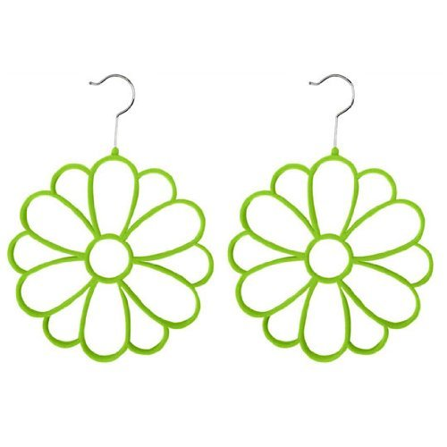 2-Piece Velvet Scarf Hanger Flower, Green