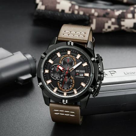 MEGIR Fashion Sport Men Watches 3ATM Water-resistant Quartz Luminous Man Wristwatch Relogio Musculino Chronograph Calendar - image 2 of 3