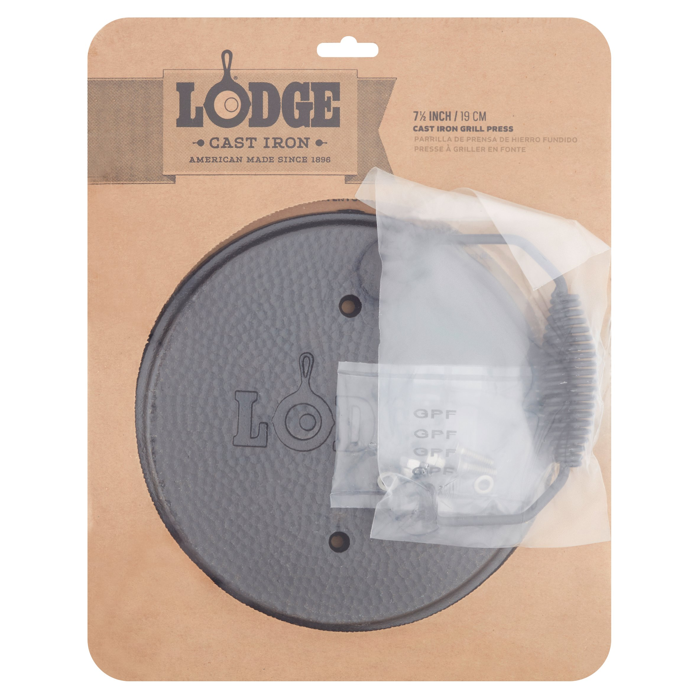 "Lodge Logic 7.5"" Round Cast Iron Grill Press LGPR3"