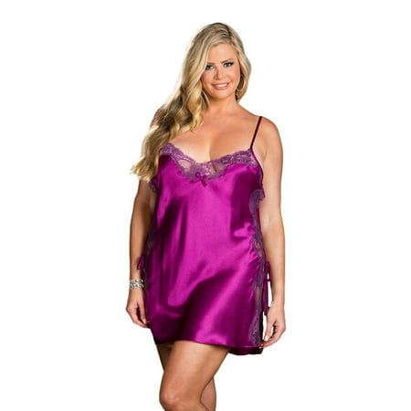 c4a355e54 Shirley of Hollywood - Plus Size Full Figure Sexy Soft Side Lace-Up Chemise  Lingerie - Walmart.com