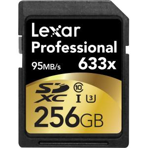 Lexar Professional 256 GB SDXC - Class 10/UHS-I (U3) - 95 MB/s Read - 45 MB/s Write - 1 Card - 633x Memory Speed