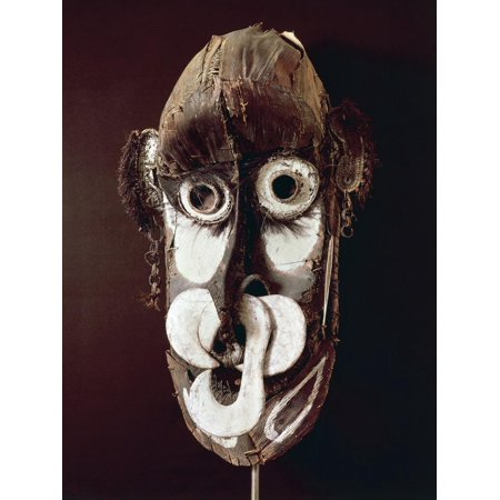 African Tribal Mask - Kreimbit Tribal Mask, Wood and Straw, African Art, 20th Century Print Wall Art