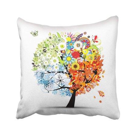 WOPOP Green Four Seasons Spring Summer Autumn Winter Tree Beautiful For Your Design Orange Leaf Pillowcase 18x18 inch