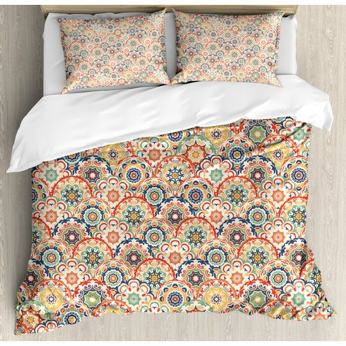 Ambesonne Geometric Oriental Floral Display Old Fashion Traditional  Textured Craft Motif Duvet Set