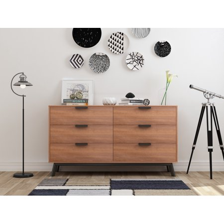 Mainstays Mid Century Modern 6 Drawers Dresser in Multiple (Modern Chest Drawers)