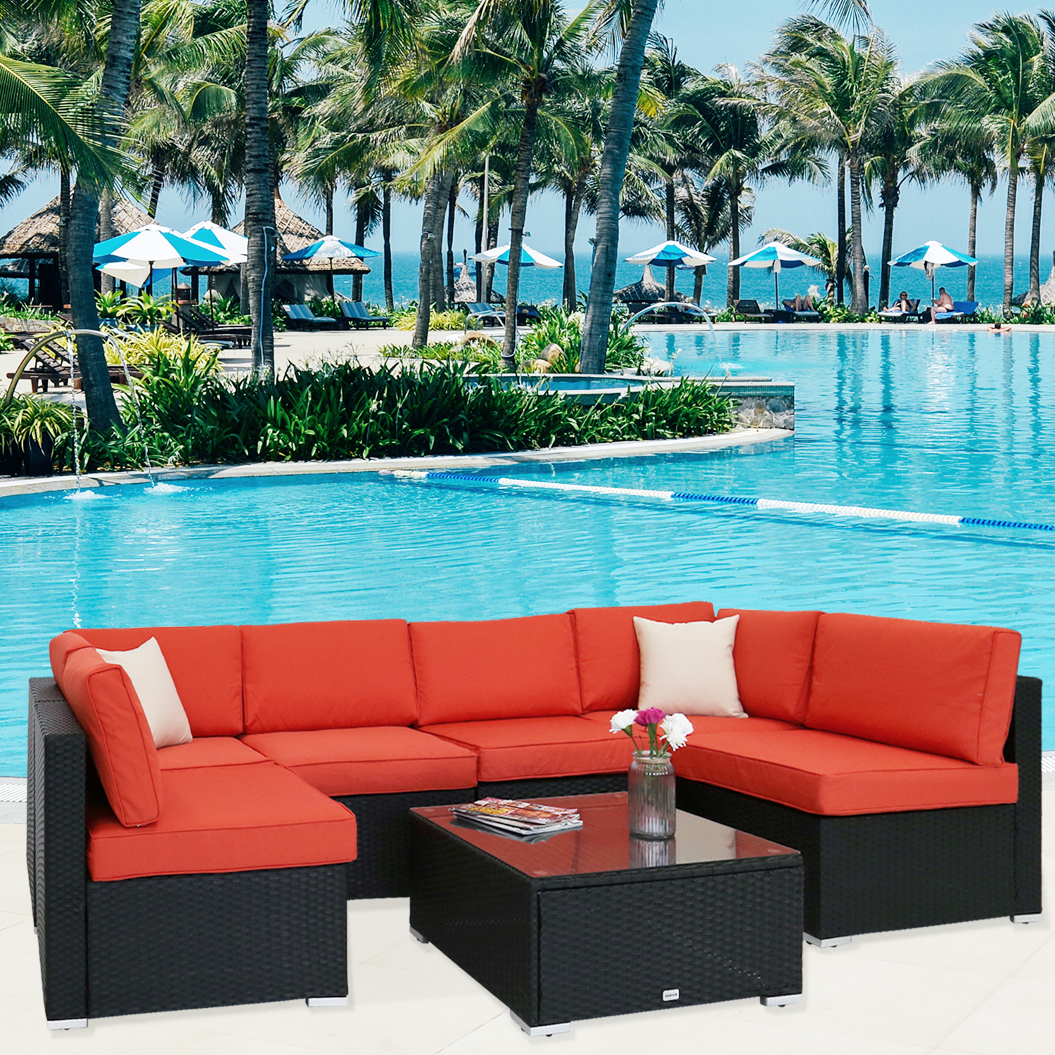 Kinbor 7pcs Outdoor Furniture Pe Rattan Wicker Sofa Sectional Cushioned Deck Couch Set Orange