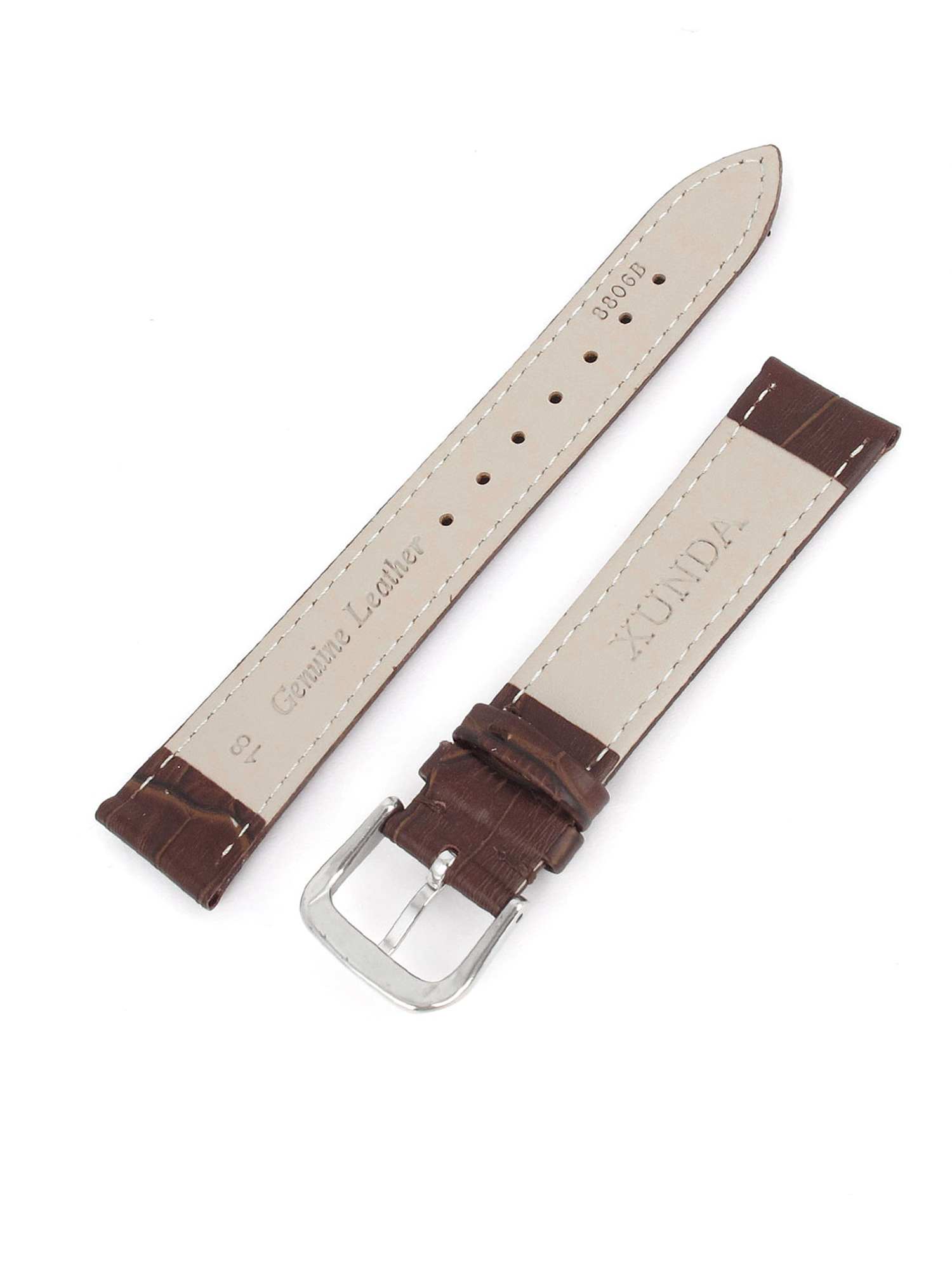 Alligator Grain WristWatch Band Genuine Leather Strap Silver /& Gold Buckle