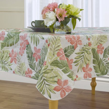 Tropical Leaf Easy Care Spillproof Vinyl Tablecloth with Polyester Flannel Backing](Tropical Tablecloth)