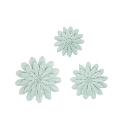 Decmode Eclectic 16, 20 And 24 Inch Light Blue Iron Flower Wall Decor - Set of 3 3 Light Old Iron