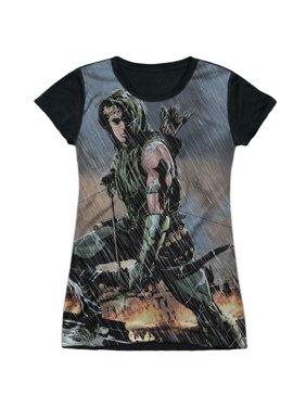 DC Comics Justice League Green Arrow In The Rain Juniors Black Back T-Shirt Tee