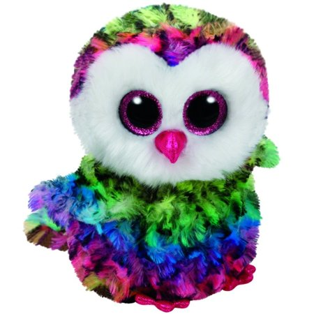 Owen Rainbow Owl Beanie Boo Small 6 inch - Stuffed Animal by Ty (37221)