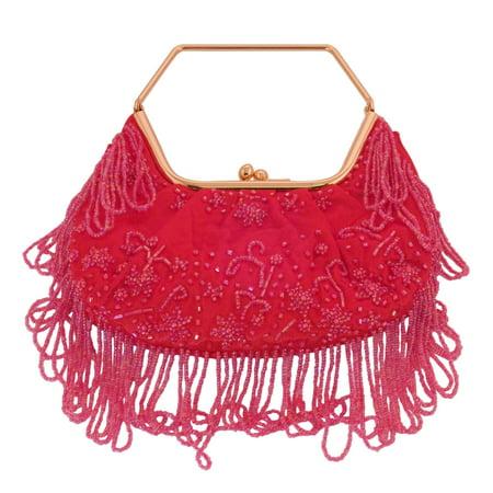 Stylish Red Women Shoulder Bag - Elegant Beaded Sequin Design PS3150RG - Beaded Purse Designs