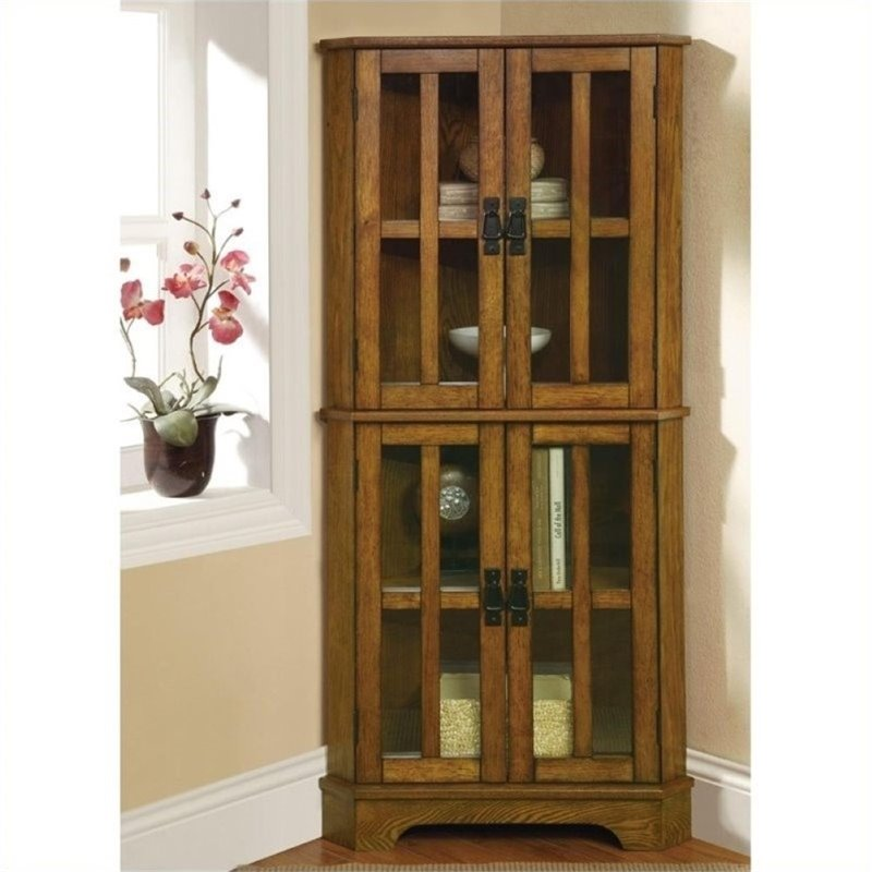 Bowery Hill 4 Shelf Corner Curio Cabinet in Warm Brown Oak by Bowery Hill
