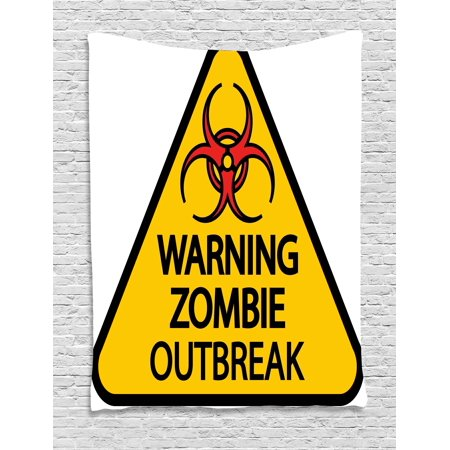 Zombie Decor Tapestry, Warning Zombie Outbreak Sign Cemetery Infection Halloween Graphic, Wall Hanging for Bedroom Living Room Dorm Decor, 60W X 80L Inches, Earth Yellow Red Black, by Ambesonne](Halloween Cemetery Signs)