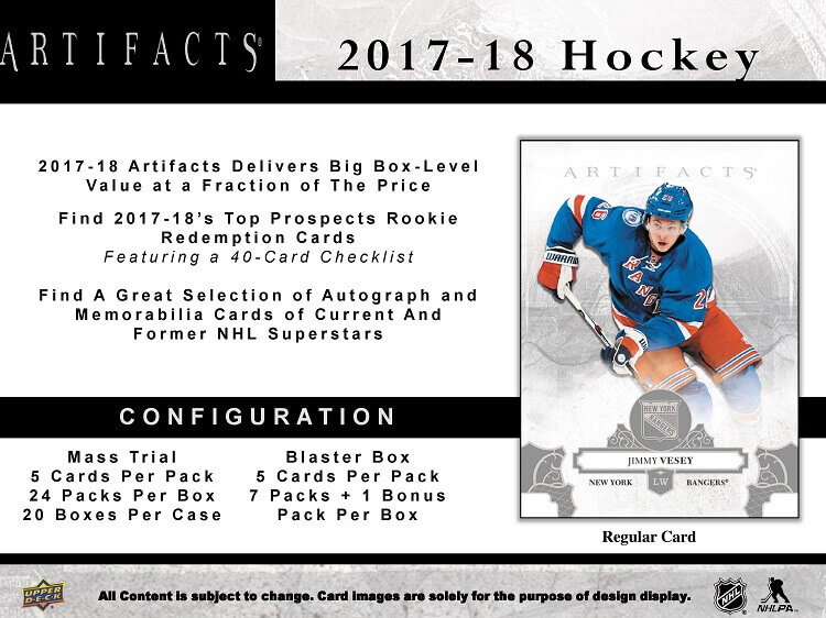 2017 Upper Deck Artifacts Hockey Blaster Box 8 packs of 5 cards by