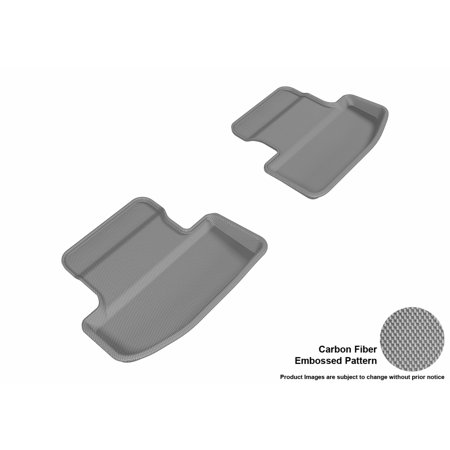 3D MAXpider 2015-2017 Ford Mustang Second Row All Weather Floor Liners in Gray with Carbon Fiber Look