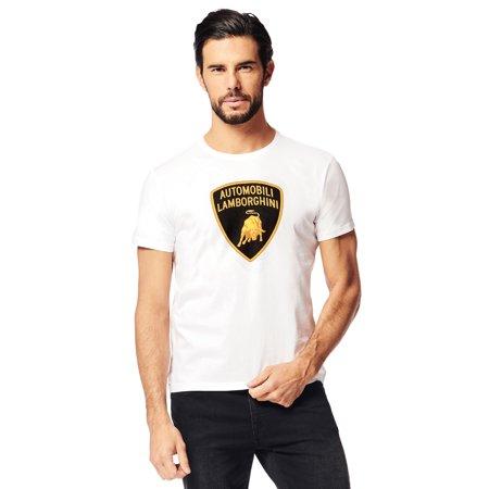 LAMBORGHINI Men's Large Shield T-Shirt, White (Lamborghini Shirt)