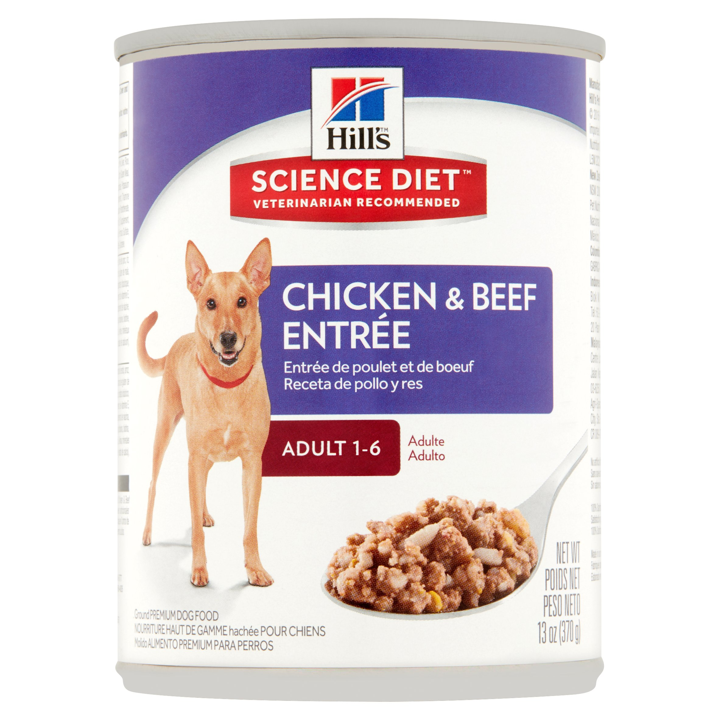 Hill's Science Diet Adult Chicken & Beef Entrée Canned Dog Food, 13 oz, 12-pack