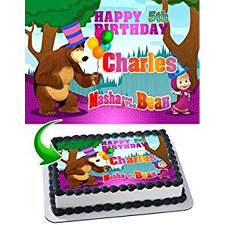 Care Bear Cakes - Masha and the Bear Birthday Cake Personalized Cake Toppers Edible Frosting Photo Icing Sugar Paper A4 Sheet 1/4 Edible Image for cake