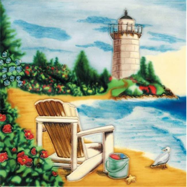 En Vogue B-257 Light House By the Sea and Bench - Decorative Ceramic Art Tile - 8 in. x 8 in.