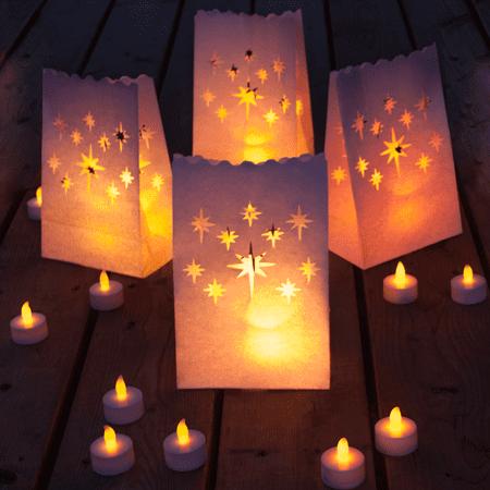 24 Long Lasting Tea Lights 12 Luminary Bags Flameless