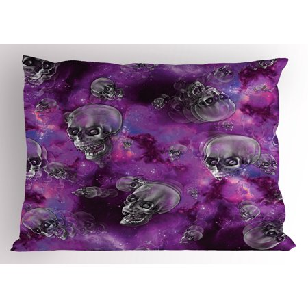 Skull Pillow Sham Horror Movie Thirller Themed Flying Skull Heads Halloween in Outer Space Image, Decorative Standard Queen Size Printed Pillowcase, 30 X 20 Inches, Black and Purple, by Ambesonne - Halloween Otter