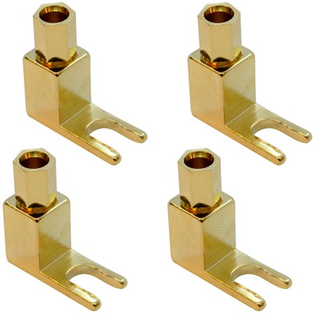 Seismic Audio 4 Pack of Gold Plated Banana to Spade Speaker Cable Connectors - Speaker Plug - SAPT515
