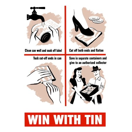 - Vintage World War II poster showing a housewife giving directions on how to prepare tin cans for a collector It declares Win With Tin Poster Print
