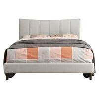 """Double Upholsterd Platform 54"""" Bed, Beige"""