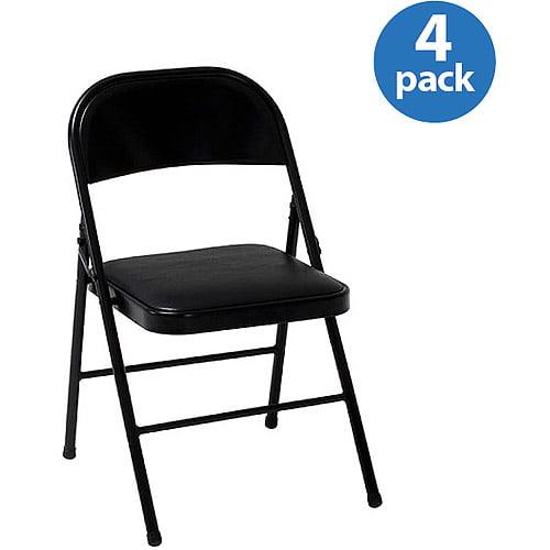 Mainstays Vinyl Folding Chair In Black Color Walmart Com