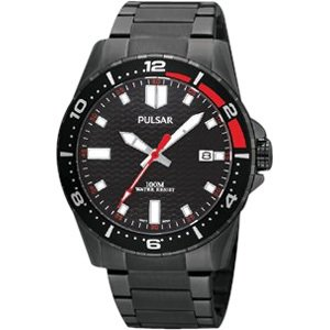 - pulsar mens analog stainless watch - black bracelet - black dial - ps9105